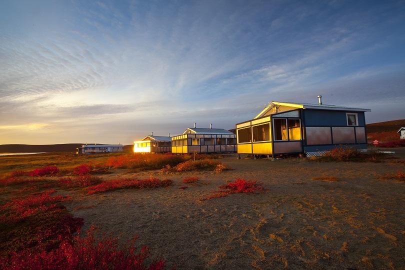 Sunrise in autumn guest cabins